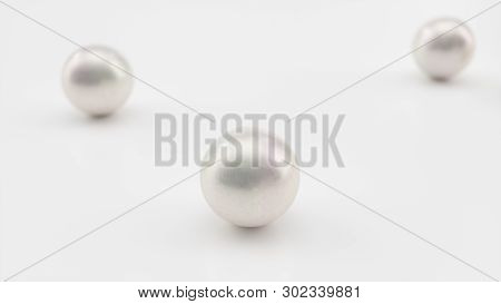 Background Of The Plurality Of Beautiful Pearls. Gems, Womens Jewelry, Nacre Beads. Background For Y