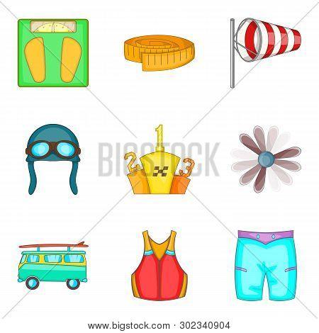 Physical Lifestyle Icons Set. Cartoon Set Of 9 Physical Lifestyle Icons For Web Isolated On White Ba