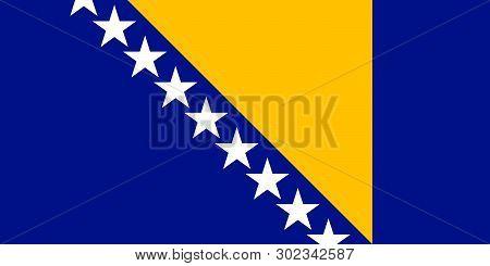Bosnia And Herzegovina National Vector Flag. Sarajevo