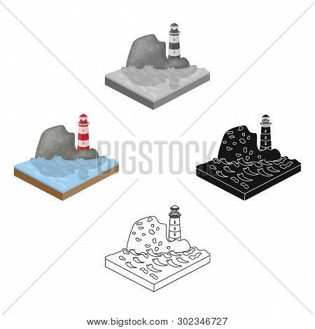 Mountains, Lighthouse And Sea . Relief And Mountains Single Icon In Cartoon, Black Style Isometric V