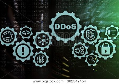 Ddos Cyber Attack. Technology, Internet And Protection Network Concept. Server Datacenter Background