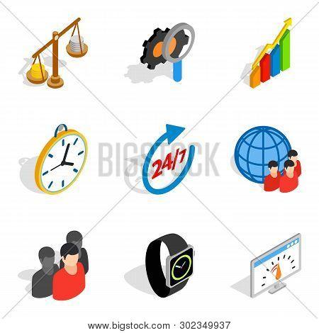 Biz Strategy Icons Set. Isometric Set Of 9 Biz Strategy Icons For Web Isolated On White Background