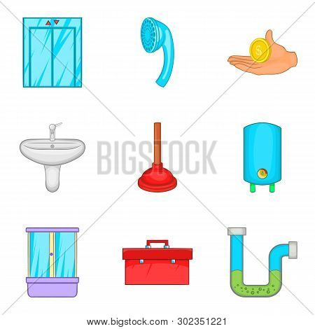 Hostelry Icons Set. Cartoon Set Of 9 Hostelry Icons For Web Isolated On White Background