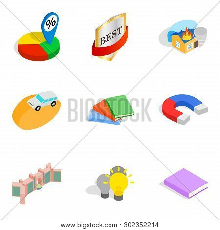 Finest Work Icons Set. Isometric Set Of 9 Finest Work Icons For Web Isolated On White Background