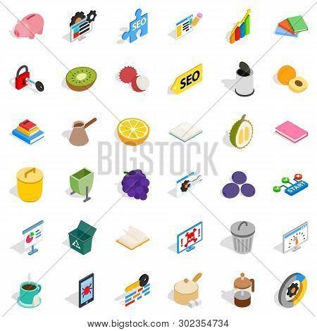 Set Task Icons Set. Isometric Set Of 36 Set Task Icons For Web Isolated On White Background