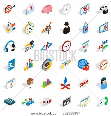 Worksite Icons Set. Isometric Set Of 36 Worksite Icons For Web Isolated On White Background