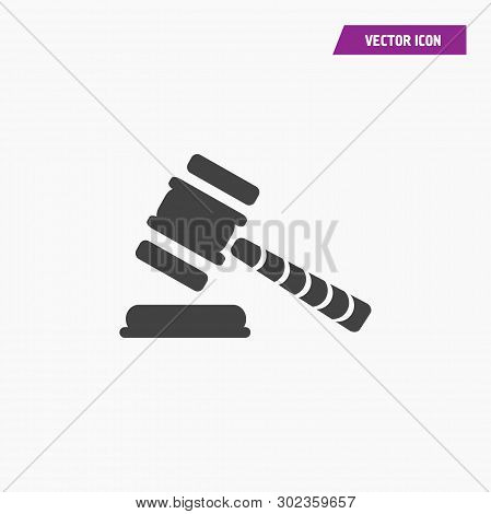Black White Judge Or Auction Hummer Icon. Flat Style Icon. Vector Illustration - Vector