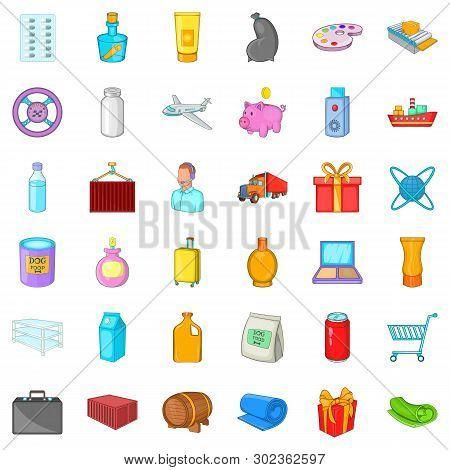 Haulage Icons Set. Cartoon Set Of 36 Haulage Icons For Web Isolated On White Background