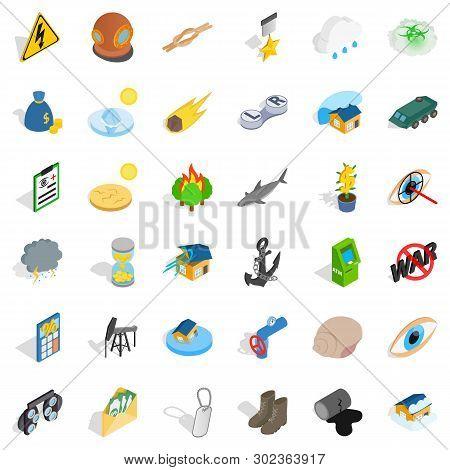 Destroy Nature Icons Set. Isometric Set Of 36 Destroy Nature Icons For Web Isolated On White Backgro