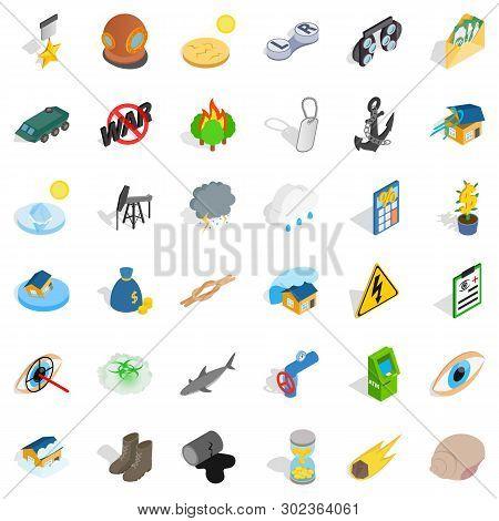 Ruinous War Icons Set. Isometric Set Of 36 Ruinous War Icons For Web Isolated On White Background