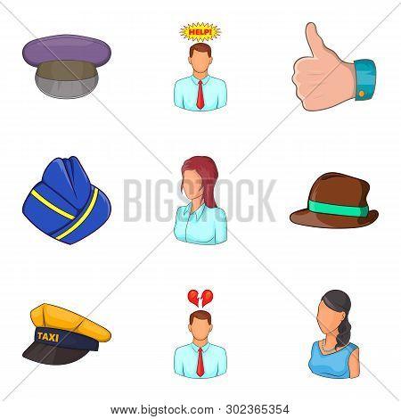 Description Of Personnel Icons Set. Cartoon Set Of 9 Description Of Personnel Icons For Web Isolated