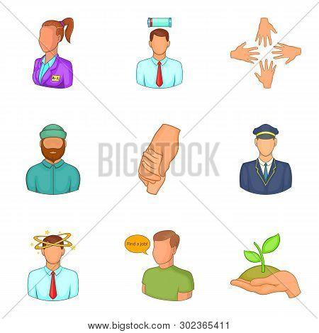 Description Of Staff Icons Set. Cartoon Set Of 9 Description Of Staff Icons For Web Isolated On Whit