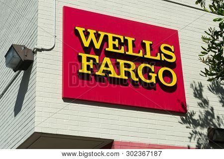 Santa Monica, Ca/usa - April 18, 2019: Wells Fargo Exterior Sign And Logo. Wells Fargo & Company Is