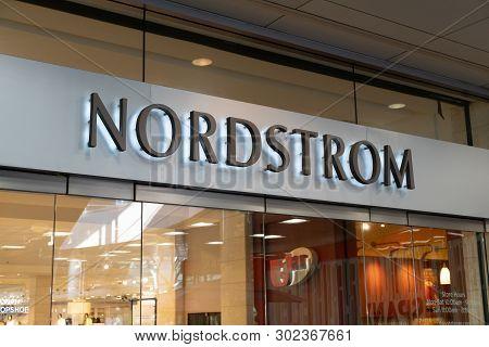 Santa Monica, Ca/usa - April 18, 2019: Nordstrom Retail Store Exterior And Trademark Logo.