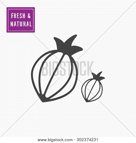 Onion, Shallot Icon Vector. Vegetable Icon Vector Line Style. White Background.