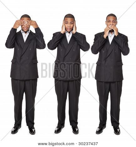 See No Evil Poses - African American Businessman Isolated On White