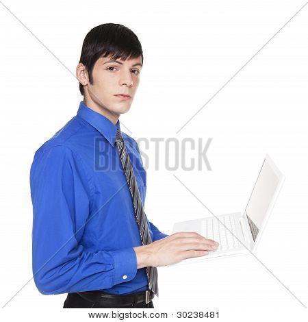 Caucasian Businessman Standing With Laptop Computer