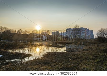 Spring City Landscape In The Rays Of The Setting Sun In The City Of Ivanovo.