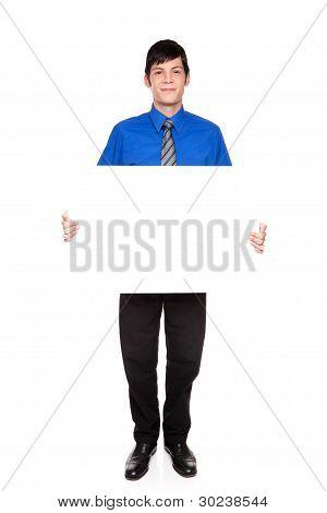 Blank Sign - Caucasian Businessman Holding Empty Placard