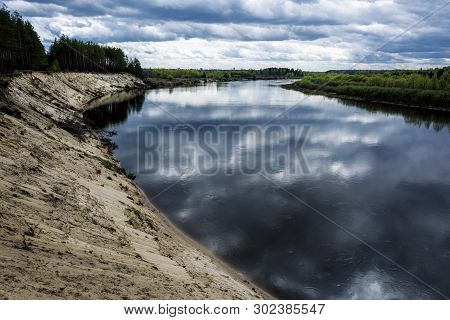 Steep Sandy Cliff On The Klyazma River In The Ivanovo Region.