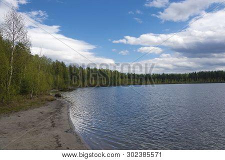 Beautiful Spring Landscape On The West Lake, Ivanovo Region.