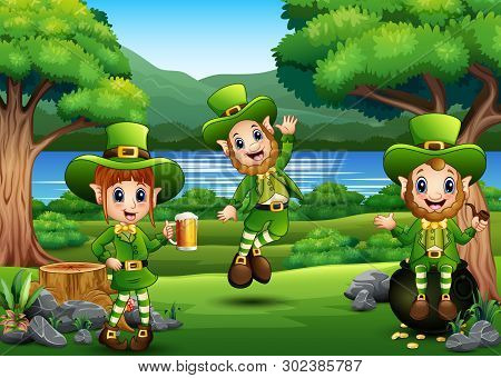 Saint Patricks Day Leprechaun Celebrate On The Beautiful Nature