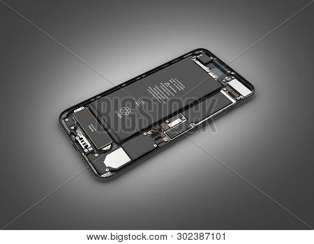 Smartphone In The Open State Smartphone Components Assembly Isolated On Black Gradient Background 3d