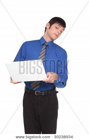 Expressions - Caucasian Businessman Turning Away From Screen