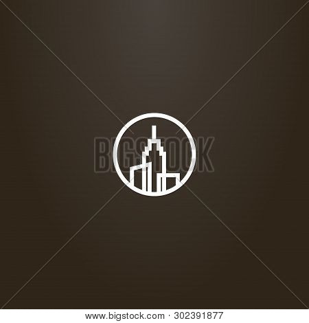White Sign On A Black Background. Simple Vector Line Art Sign Of Three High-rise Buildings With A Sp