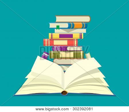 Open Book With An Upside Down Pages And Pile Of Books. Reading, Education, E-book, Literature, Encyc