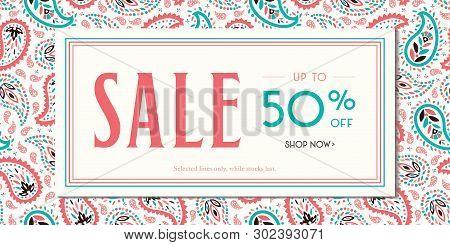 Colorful Oriental Paisley Promotion Horizontal Rectangular Banner. Social Media Ads Graphics. Whimsi