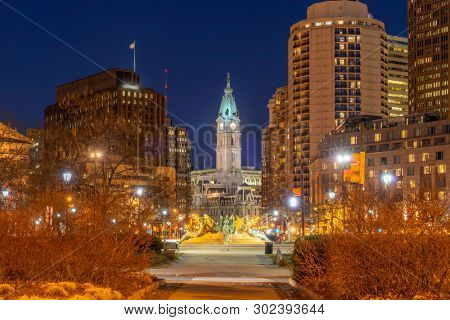 Philadelphia City Hall Clock Tower in Philadelphia, Pennsylvania, USA. Sunset