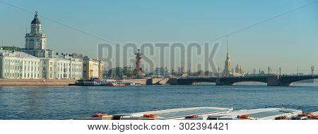 River Big Neva, Palace Bridge. St. Petersburg, Russia