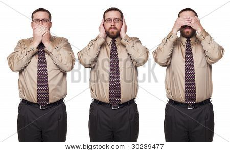 Businessman On White Background In See No Evil Poses