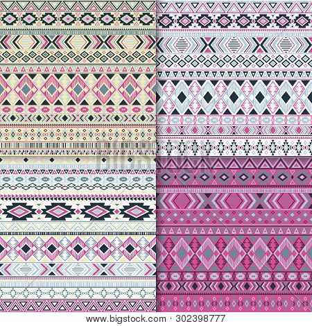 Mexican Tribal Ethnic Motifs Geometric Patterns Set. Bohemian Tribal Motifs Clothing Fabric Textile
