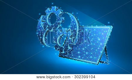 Gears Yin Yan symbol on tablet screen. Industry balance, business solution, settings concept. Abstract, digital, wireframe, low poly mesh, vector blue neon 3d illustration. Triangle, line, dot poster