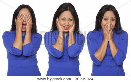 Isolated studio shot of a Latina woman in the See No Evil Hear No Evil Speak No Evil poses. poster