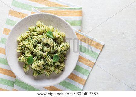Top View. Fresh Delicious Pasta With Pesto Sauce