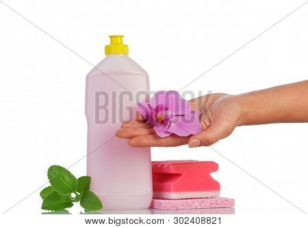 Gentle Dishwashing Detergent For The Delicate Skin Isolated On White Background