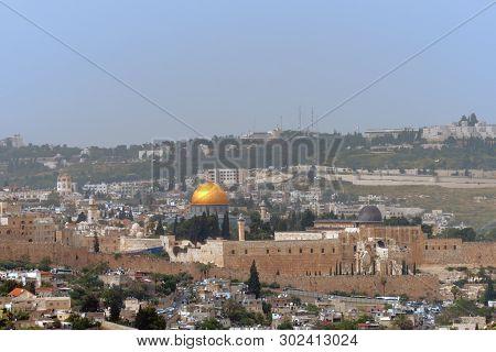 Panorama Of Jerusalem, Israel. Tempel Mount Al-aksa