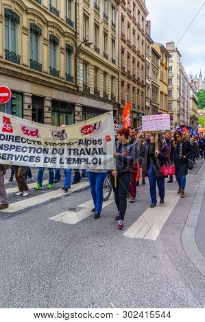 Lyon, France - May 09, 2019: Protestors About Teachers And Education Issues March In The Streets Of