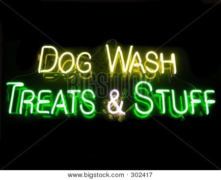 poster of neon sign advertising dog grooming and treats