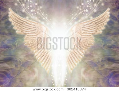 Angelic Light Being - Pair Of Angel Wings With Bright White Light Between And A Stream Of Glittering