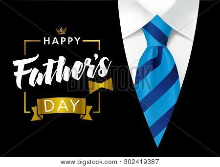 Happy Father`s Day Calligraphy Greeting Card. Happy Fathers Day Vector Lettering Background With Blu