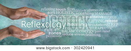 Rustic Masculine Reflexology Word Cloud Banner - Pair Of Male Hands Cupped Around The Word Reflexolo