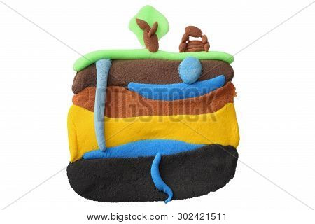 plasticine schematic showing water cycle isolated on white background. modelling clay. poster