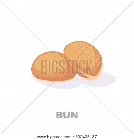 Illustration Of A Bread, Bun On A White Background For Bakehouse Or Shop, Store, Natural Rural Nutri
