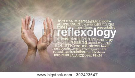 Masculine Reflexology Word Cloud Banner - Pair Of Male Hands With Light Between Beside The Word Refl
