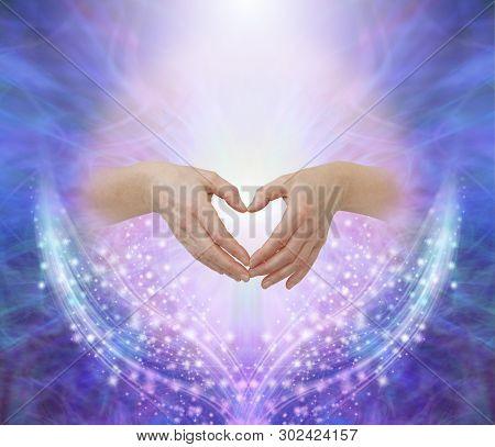 Healers Hands Making A Humble Heart Shape - Female Hands Forming A Heart Shape Against A Pink Circle