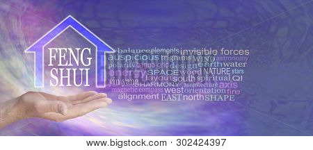 Feng Shui Word Tag Cloud - Male Hand With A House Shape Containing The Words Feng Shui Floating Abov